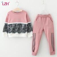 LZH Children Clothes 2017 Autumn Winter Girls Clothes Set Lace T Shirt Pants 2pcs Outfit Kids