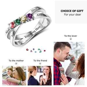 Image 5 - Rodzina i przyjaźń pierścień wygrawerować nazwy klienta 4 Birthstone 925 Sterling Silver matki pierścienie prezent dla mamy (JewelOra RI102509)