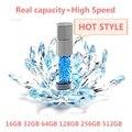 Caliente Super Brillante diamante pen drive A Prueba de agua unidad flash usb de Cristal 16/32/64/128 gb brillante tarjeta de memoria flash del palillo de almacenamiento otg