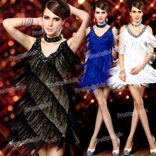 2015 Free shipping Women's Deep V Art Deco 1920s Gatsby Tassel Fringe Flapper Party Costume Dress