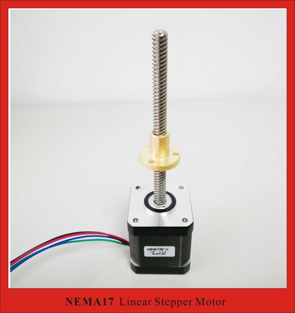 4-lead NEMA 17 External Linear Stepper Motor T8 Lead Screw 2 Pitch 110mm Length Lead Nema17 48mm Body