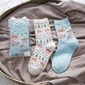 Kha Zix Brand 2 Pairs Combed Cotton Brand Women Men Socks,3d Cartoon Animal Stripes Colorful Dress Socks with Gift Box