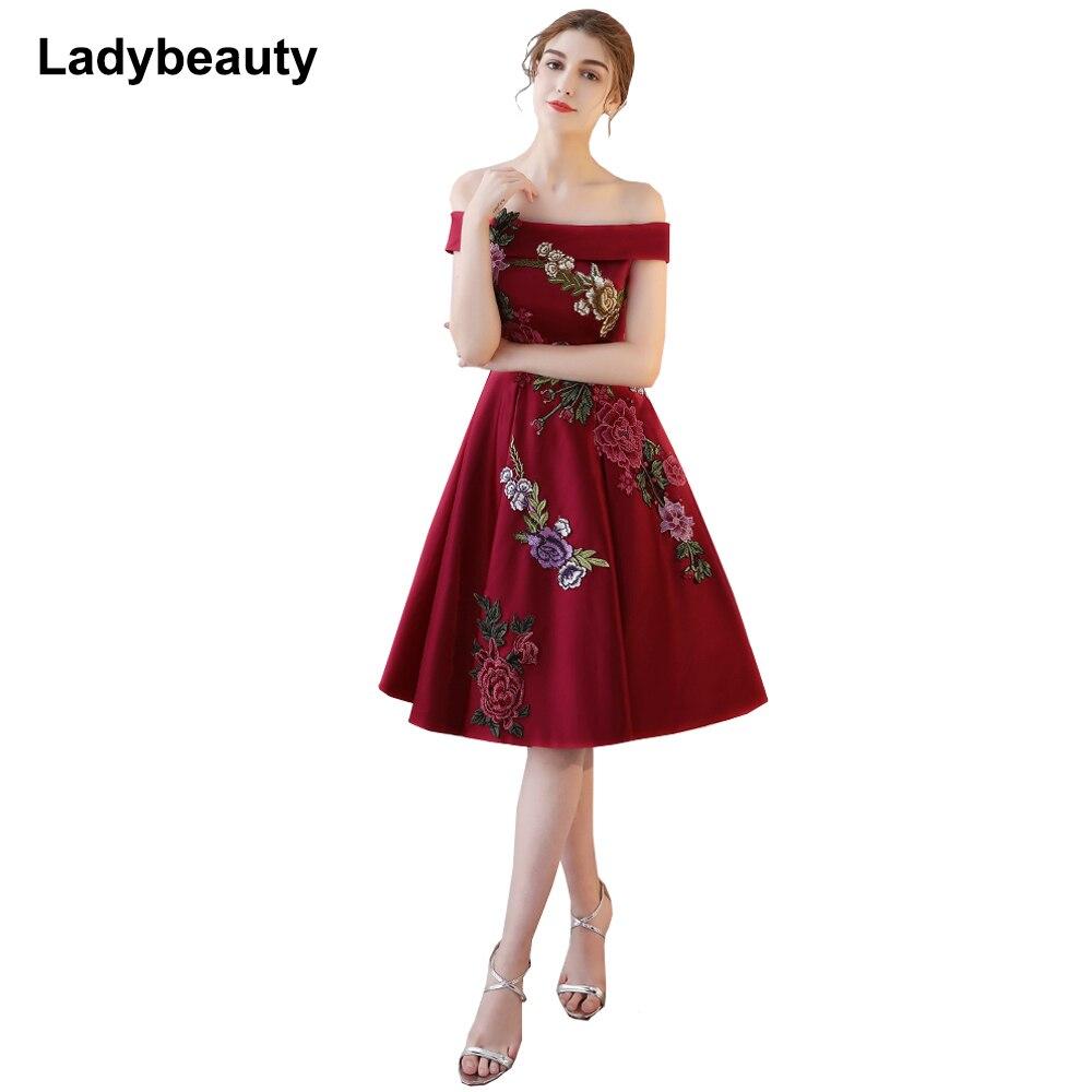 Ladybeauty 2018 new arrive party   prom     dress   Vestido de Festa boat neck A-line satin lace-up back appliques evening party   dress