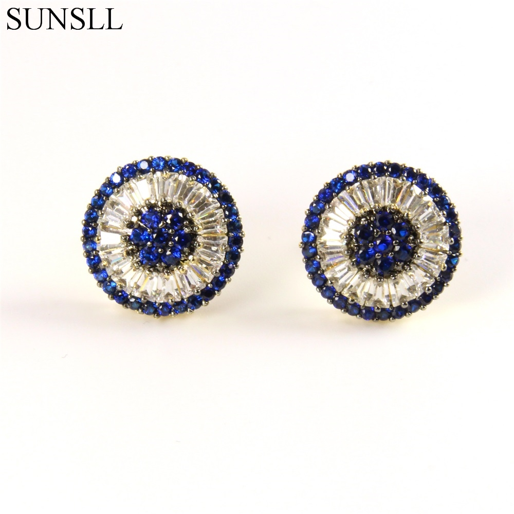 SUNSLL Golden Color Copper Pins Multicolor Cubic Zirconia Pizza Stud Earrings Women's Party Fashion Jewelry Cobre CZ Brincos