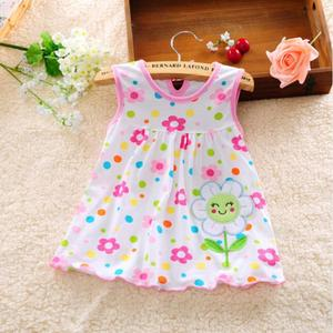 Cute Baby Girl Dress Cotton Regular Dot Sleeveless A-Line Dresses Floral Appliques Casual Clothing Princess 0-24 Months(China)