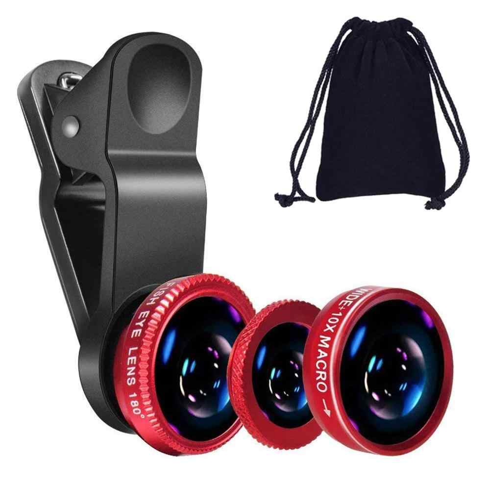 Fisheye Lens 3 in 1 mobile phone lenses fish eye +wide angle +macro camera lens for iphone 7 6s plus 5s/5 xiaomi huawei samsung