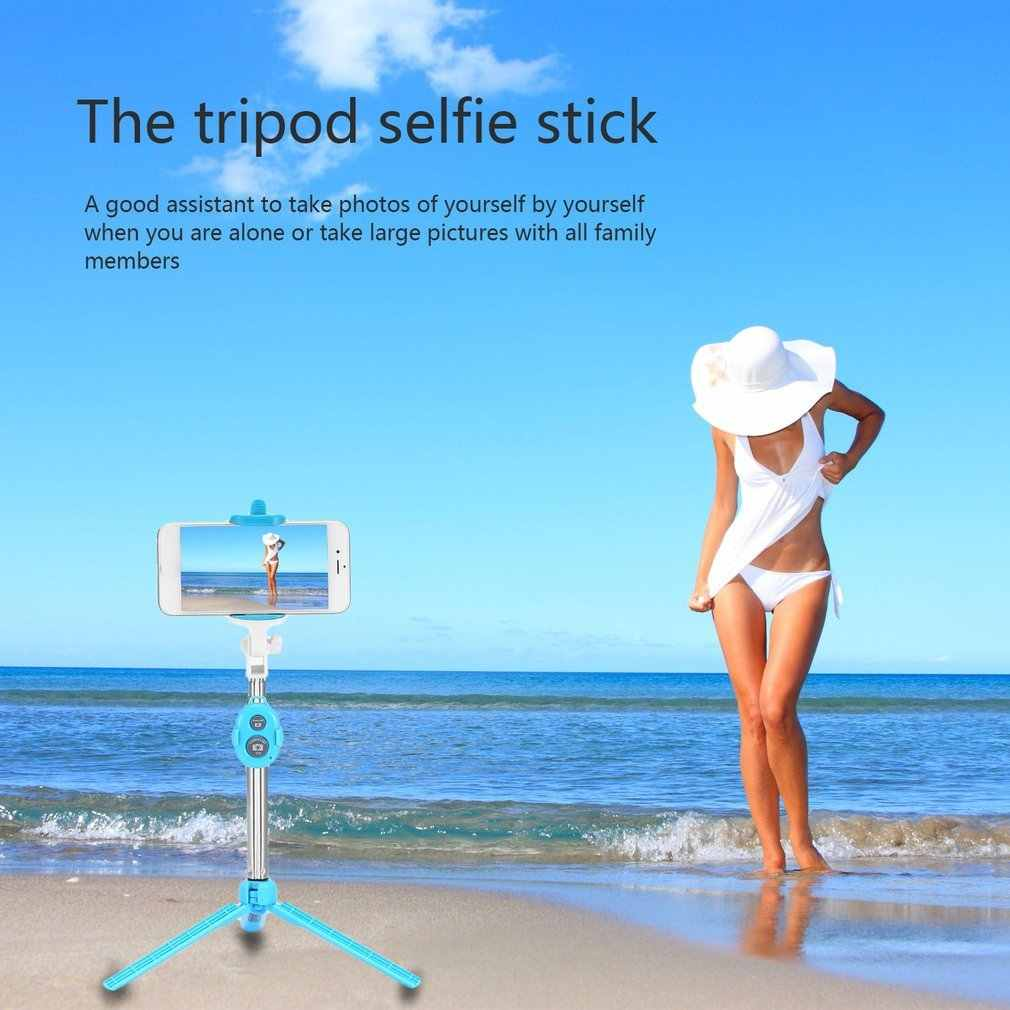 Nirkabel Bluetooth 4.0 Selfie Tongkat 4 In 1 Remote Shutter Selfie Stick Monopod Tripod Holder untuk IOS Android Cell telepon