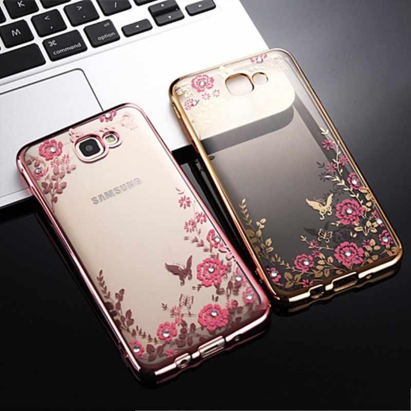 Ftaidkj Mewah Bunga Berlian Tpu Kasus untuk Samsung S8 S9 Plus Catatan 8 9 S7 Sisi C7 C8 C9 Pro c10 J2Pro J7 J3 J4 J6 J8 2018 A5 A7