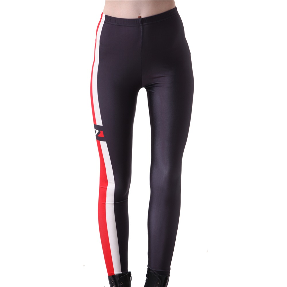 Digital PrintingElastic Casual Pants N7 Red Stripes Pattern Women Leggings 7 Sizes Fitness Clothing Free Shipping