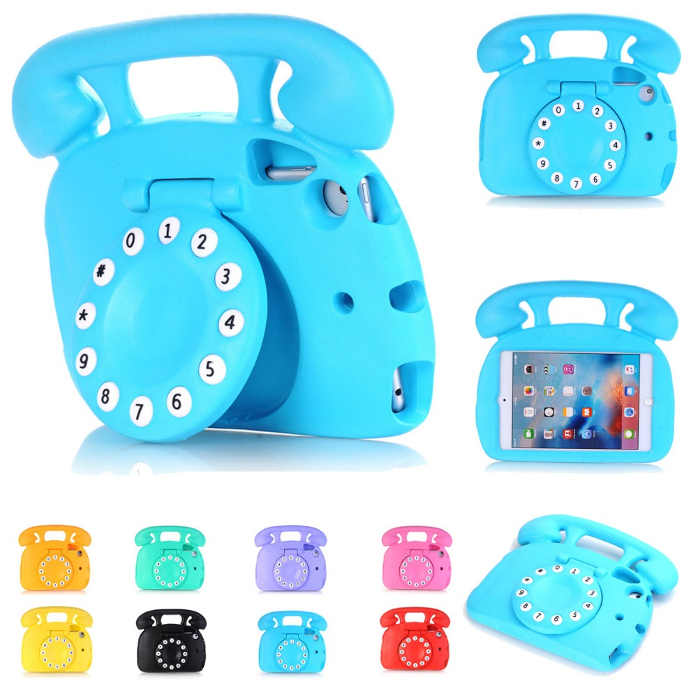 For iPad Mini 4 Case Kids Shockproof 3D Telephone EVA Foam Cover with Stand Cases foriPad Mini 1 Mini 2 Mini 3 Mini 4 Retina