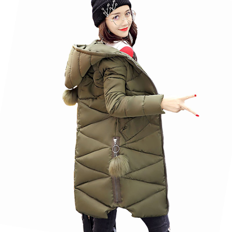 New Fur Ball Army Green 2017 Fashion Winter Jacket Women Warm Down Parkas Long Female Jacket Coat Ladies Down Cotton Outerwear abner 2017 new winter loose long coat fashion women down cotton female warm parkas overcoat good quality free shipping