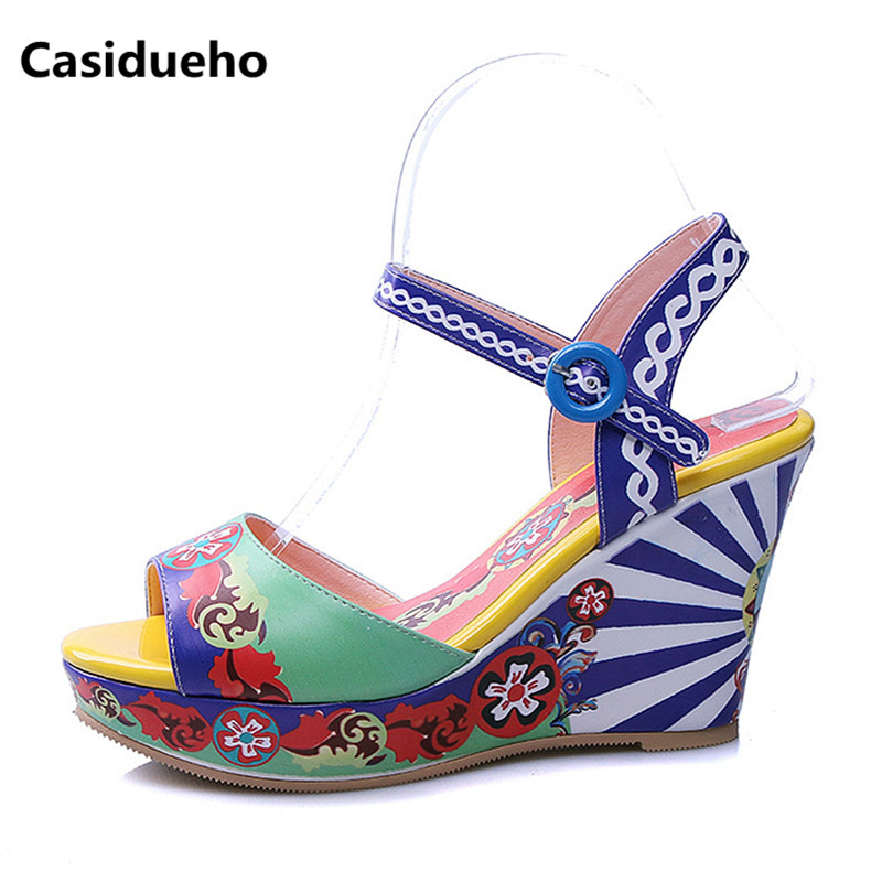 Casidueho Women Platform Sandals Print Leather High Heels Shoes Woman Sexy Peep Toe Pumps Rome Strap Wedge Shoes Women Slippers women peep toe sandals summer platform wedge invisible high heels boots rome style side zip casual shoes woman silver blue white