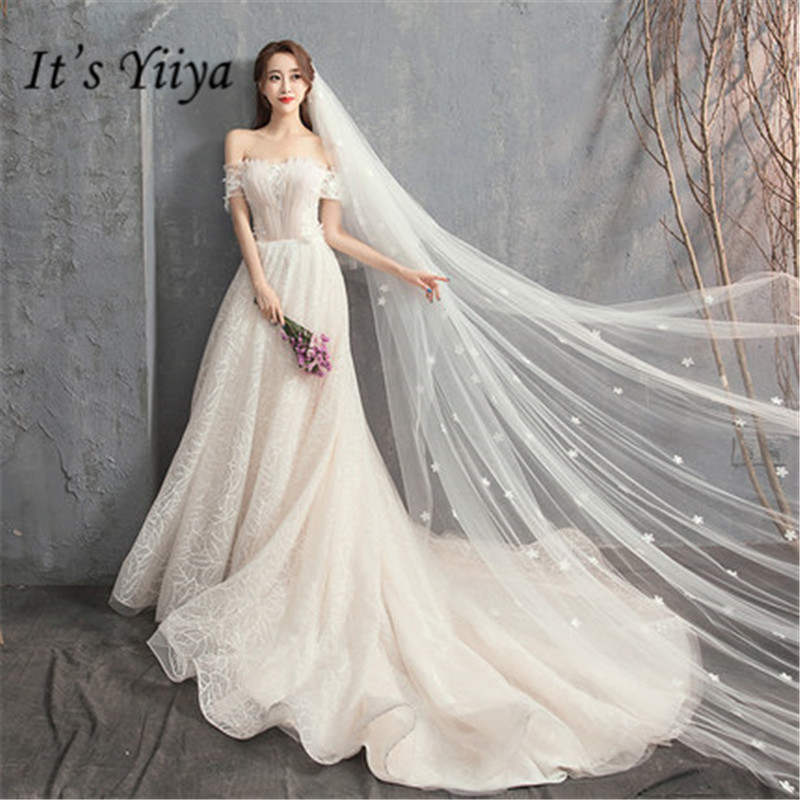 It's YiiYa How Bust Pleat Champagne Wedding Dresses Sexy Off Shoulder Trailing Bride Gown De Novia Casamento DV029