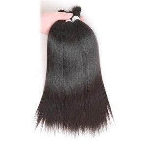 Extensions de cheveux brésiliens naturels Remy lisses couleur naturelle-Rebecca | 10 à 30 pouces, pour tressage, lot de 4, livraison gratuite