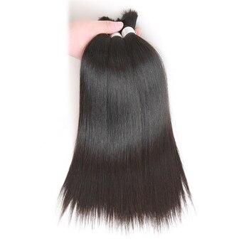 Pelo humano brasileño Remy liso a granel para trenzar 4 mechones, envío gratis, 10 a 30 pulgadas, extensiones de cabello de Color Natural