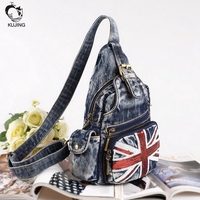 KUJING Brand Handbags High Quality Personality Meters Word Women Shoulder Bag Luxury Retro Cowboy Men And