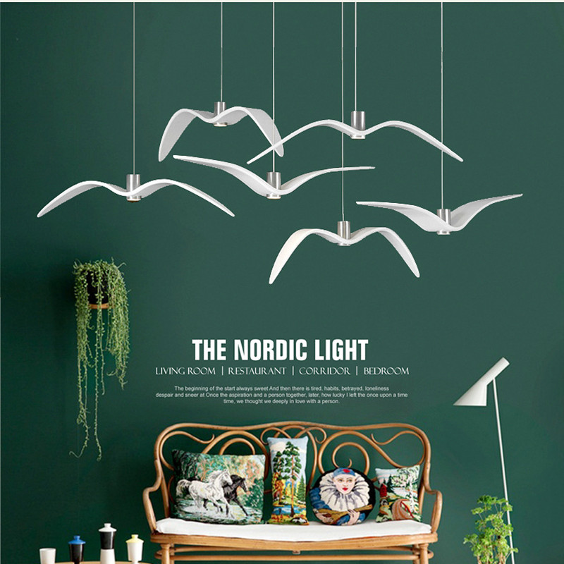 Nordic Loft Led Seagull Pendant Light Art White Seagull Living Study Bar Coffee Shop Suspension Light Fixtures Free Shipping