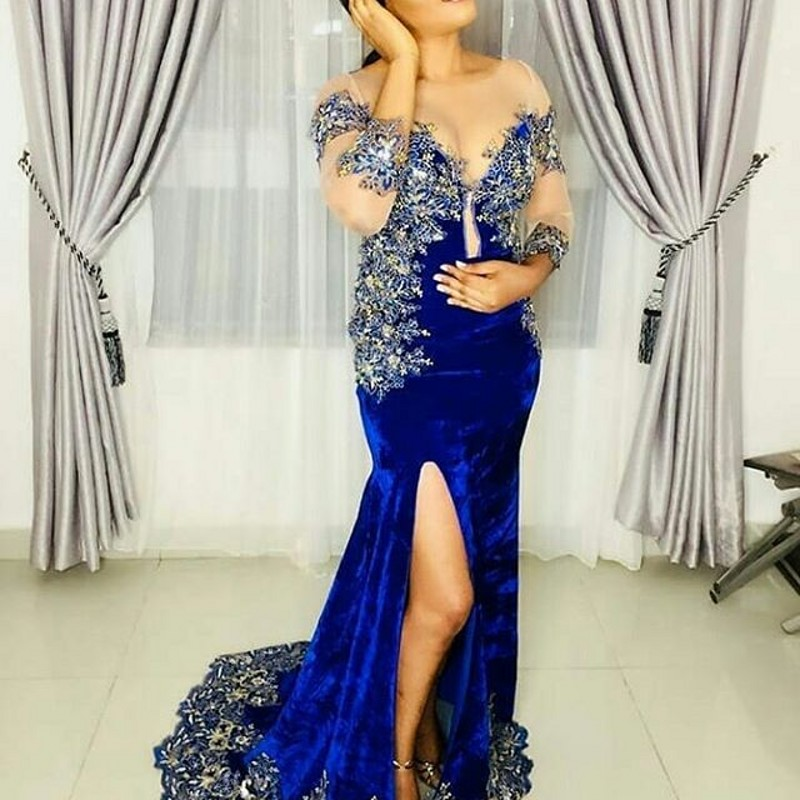 Royal Blue Sheer Neckline   Evening     Dress   Split Applique Formal   Dresses   African Wear   Evening   Gowns Velvet robe de soiree abiye