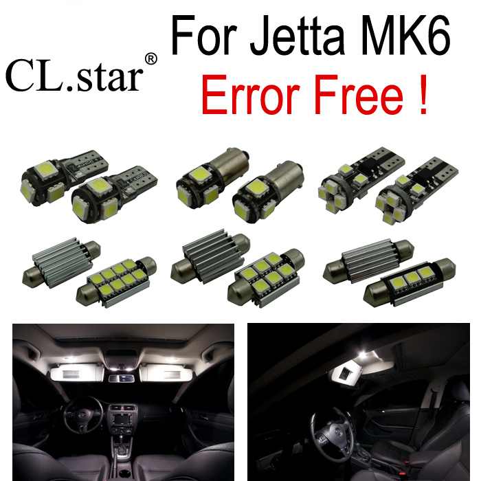 11pc X  100% error free for Volkswagen VW jetta 6 MK6 LED lamp interior light  kit package Sedan (2011+) 2x 9006 hb4 led projector fog light drl 12w no error for volkswagen golf 6 mk6 2011 2012 scirocco 08 on t5 transporter 2003 2016