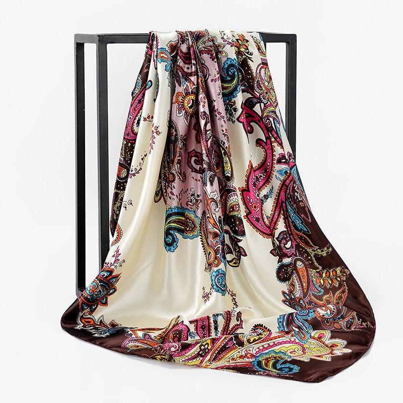 d9e892d7b07b Winter Female Street Building hair accessories Square paris foulard femme  soie de marque de luxe 90 90CM Muslim Hijab Bandana -in Women s Scarves  from ...