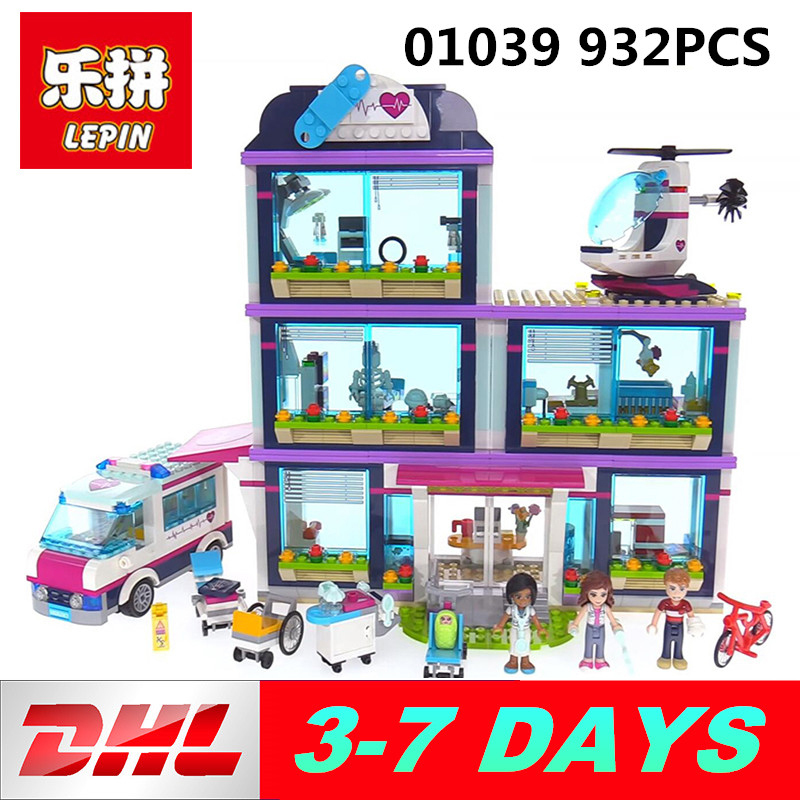 Lepin 01039 Friends Girls Series building blocks 932PCS Heartlake Hospital toys kids Bricks Legoing 41318 lepin 01039 friends girl series building blocks toys heartlake hospital kids bricks toy girl gifts compatible with legoing 41318