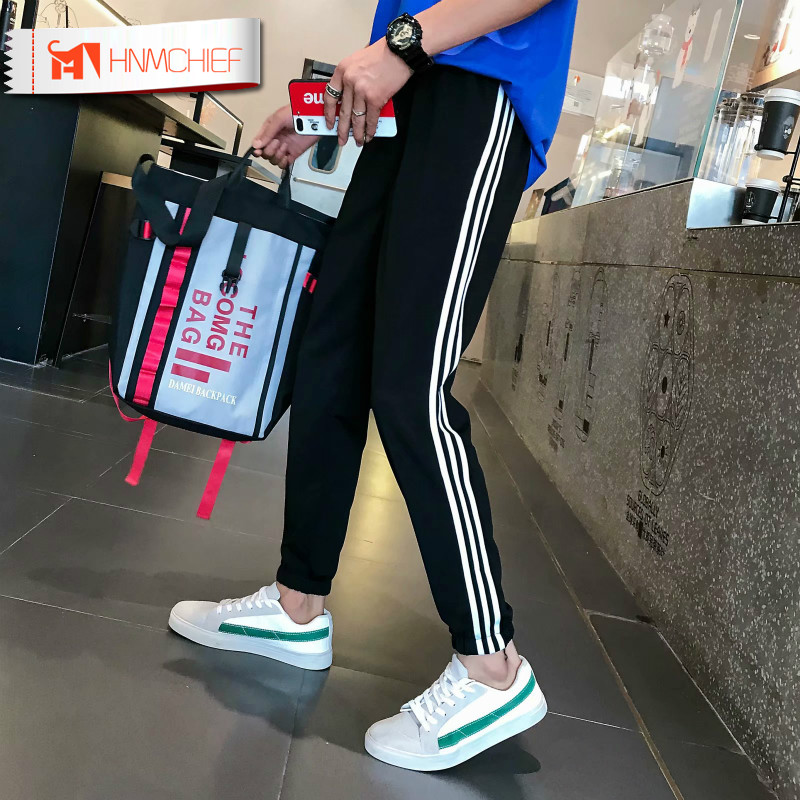 HNMCHIEF Male Trousers Sweatpants Jogger Fitness-Workout Cotton GYMS Elastic Casual New