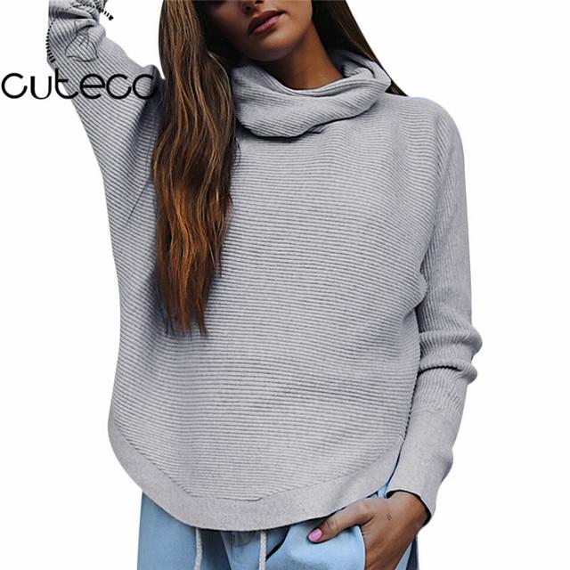 5ec756032e3d 2017 Mujeres Del Invierno Sólido Suéter Flojo de Manga Larga Cuello Vuelto Holgado  de Punto Jerseys