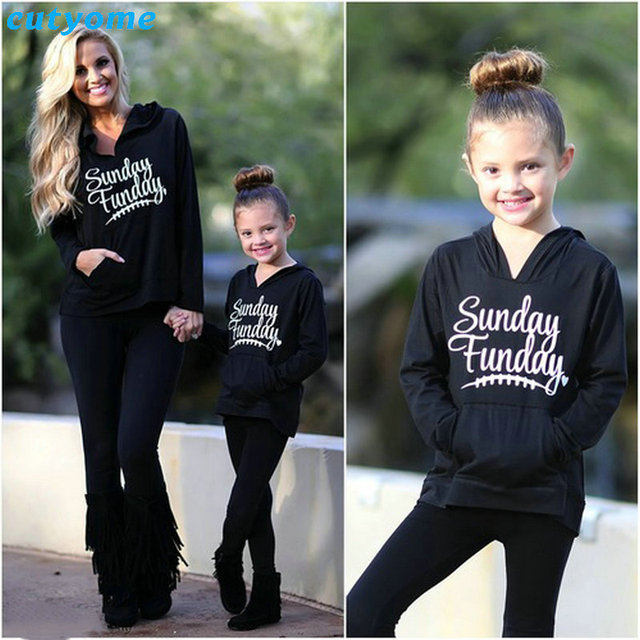 25d209b05d Christmas Family Look Matching Outfits Mother And Daughter Hoodies Clothes Long  Sleeve Sunday Funday Mom Daughter Girl Clothing