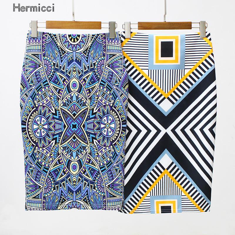 Hermicci Big Size Pencil Skirt Summer American Femme Bodycon Women Skirts Geometric Print High Waist Slim Vintage Women Clothing