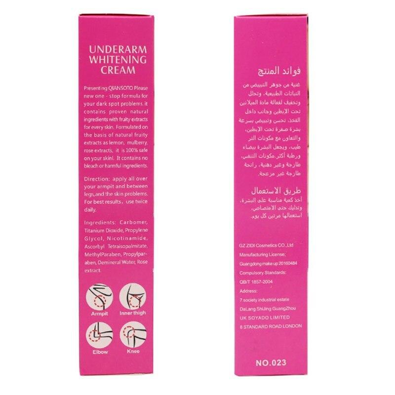 60ml New Underarm Whitening Cream Body Dark Skin Armpit Legs Knees Private Bikini Inner Thigh Body Whitening Cream 5