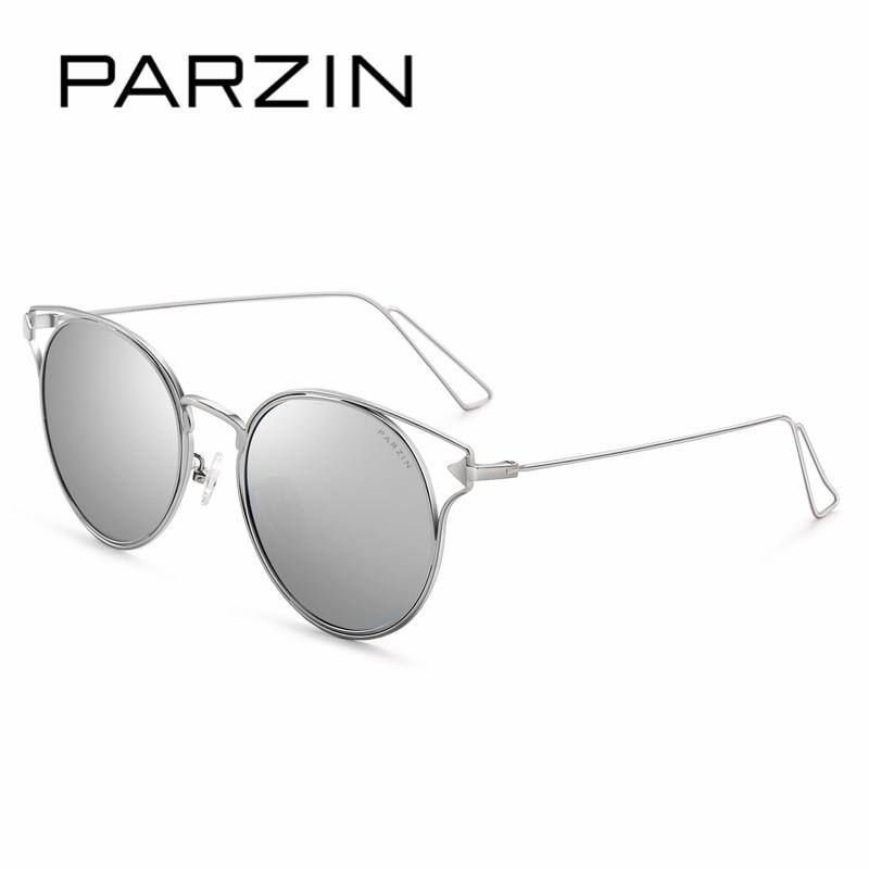 PARZIN New 2017 Metal Frame Women Round Sun Glasses Vintage Steampunk Coating Mirror Sunglasses Ladies Polairzed