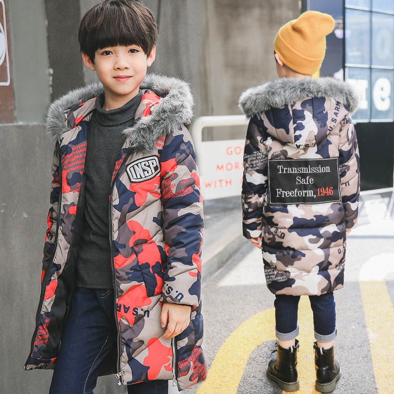 Fashion Hooded Down Jacket for Boys Coat Print Long Sleeve Tops Boy Clothes Winter Jacket Windbreaker Children Winter Clothes colorvalue winter double zipper running jacket women hooded fitness coat long sleeve sport yoga coat with pocket and thumb holes