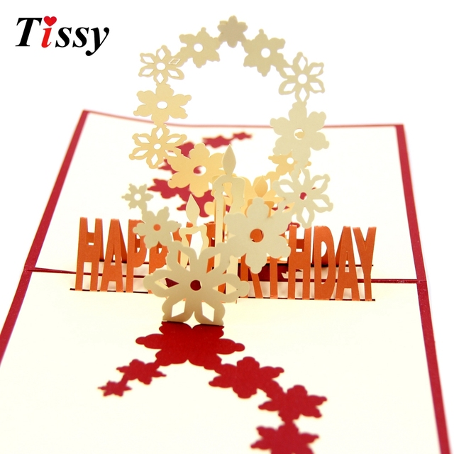 1pc diy 3d cherry blossoms happy birthday cards laser cut folding