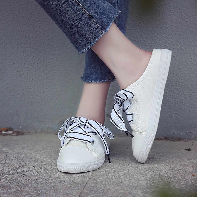 Frauen Vulkanisieren Schuhe Weiße Turnschuhe Frauen Casual Slipony Frauen Leinwand Turnschuhe Rosa Hälfte Hausschuhe Wohnungen Weibliche Schuhe Espadrille