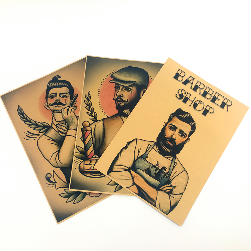 Vintage hairdresser tattoos kraft paper about stay sharp for wall sticker poster bar cafe barber shop wall hm 050 in wall stickers from home garden on