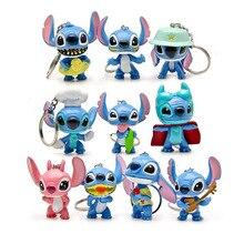 10 pçs/lote Lilo & Stitch Dos Desenhos Animados Chaveiros Pingente Presentes Ação PVC Figuras Brinquedos Para Decoraton