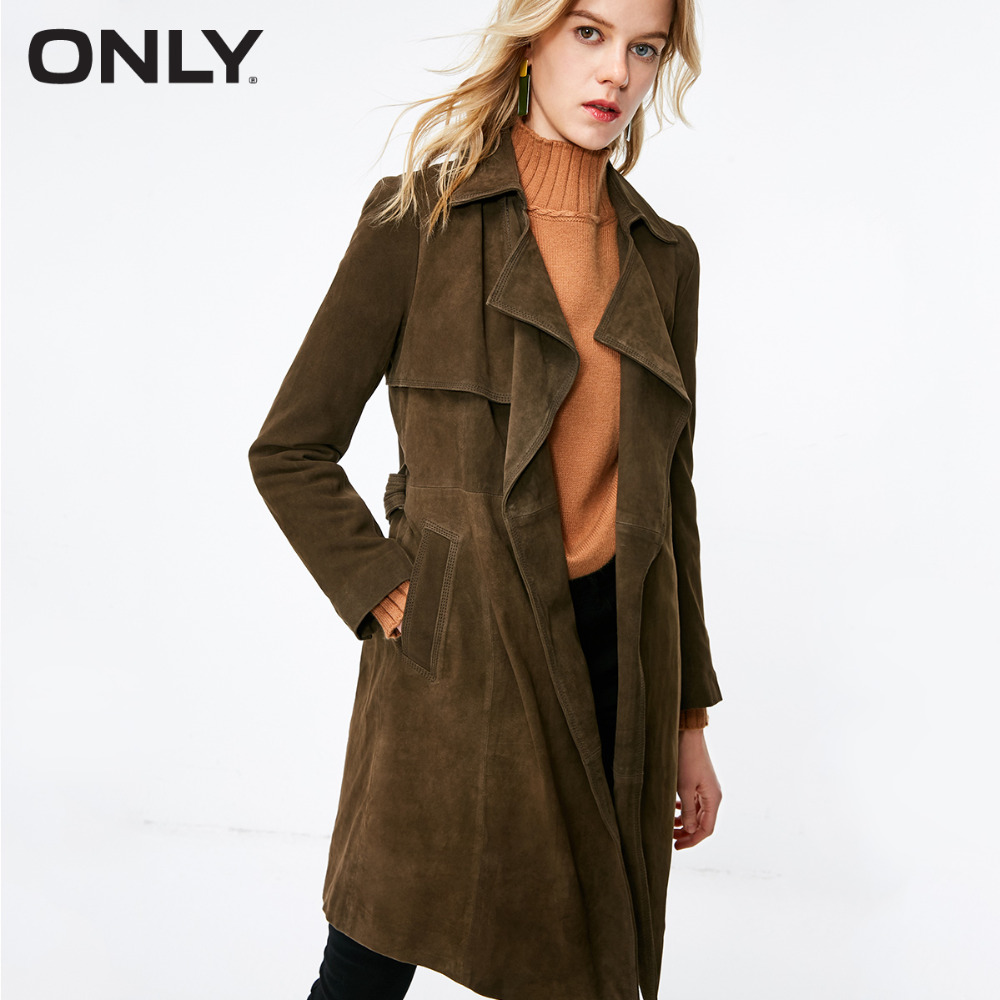 ONLY  Women's Suede Lace-up Medium Style Lapel Leather Coat |118310537
