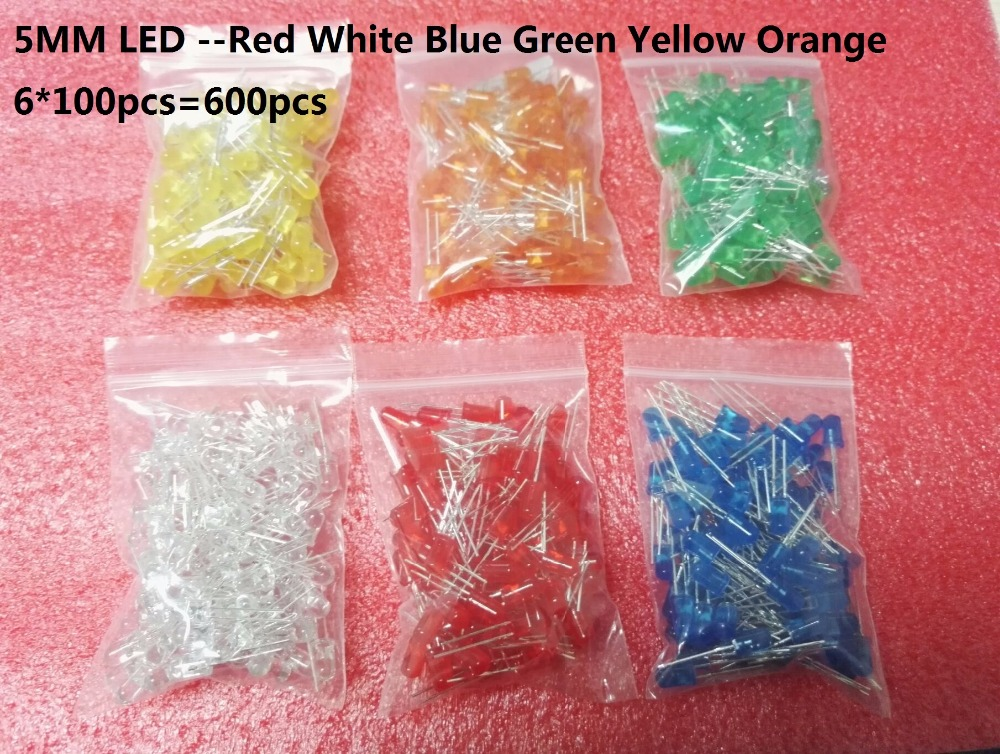 6 Colour*100pcs F5 <font><b>Led</b></font> Kits <font><b>Red</b></font> Green Yellow Blue White Orange <font><b>5MM</b></font> <font><b>LED</b></font> Diode Kit Mixed Color kit 600pcs=6 value each 600pcs image