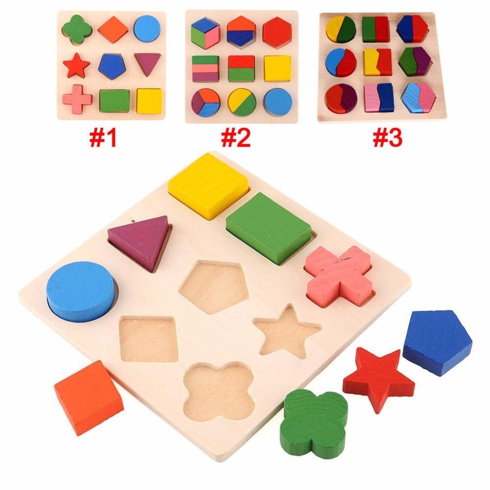 2018 Wooden Geometric Shapes Sorting Math Montessori ...