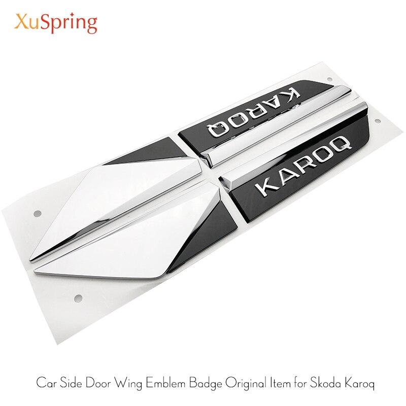 For Skoda Karoq 2017-2020 Car Original Side Wing Fender Door Emblem Badge Sticker Trim Chrome Garnish Car Stickers 4pcs/set