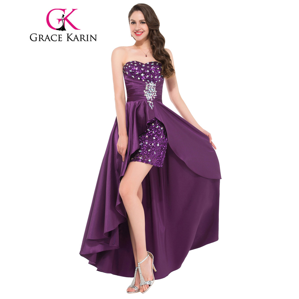 High Quality Grace Karin Short Front Long Back Royal Blue Prom Dresses 2017  Sequin Beading Bling Formal Elegant Prom Gown CL6012-in Prom Dresses from  ... b18ff45b0c12
