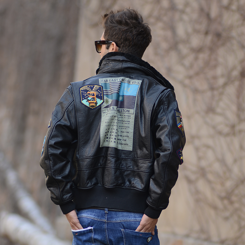 Black genuine leather jackets coats men heavyweight lambskin hooded motorcycle jacket veste cuir homme 2 patch