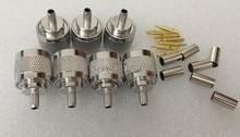 10 pçs/lote 50-3 Conector N RF Conector Coaxial N-Tipo Conector Macho para RG58 RG142 RG400 LMR195 RF Conector