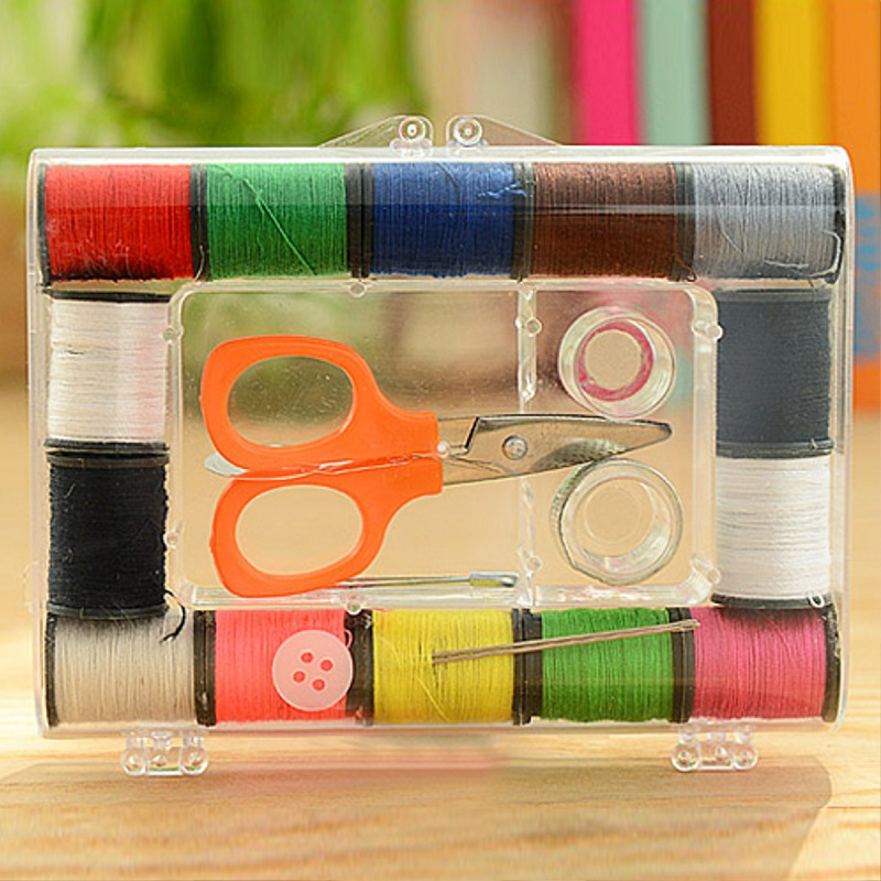 New Sewing DIY Sets 14 Colors Bobbin Storage Box Kit Tool Thread Threader Needle Tape Measure Scissor Thimble