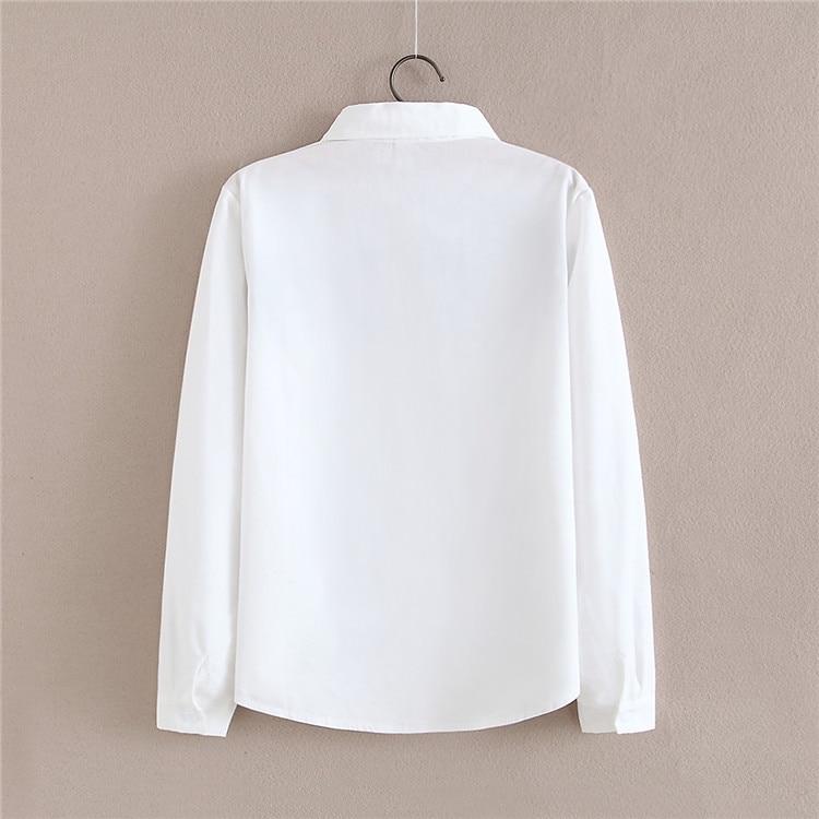 2017 neue Herbst weiße Stickerei Blume Bluse mit Brosche - Damenbekleidung - Foto 3
