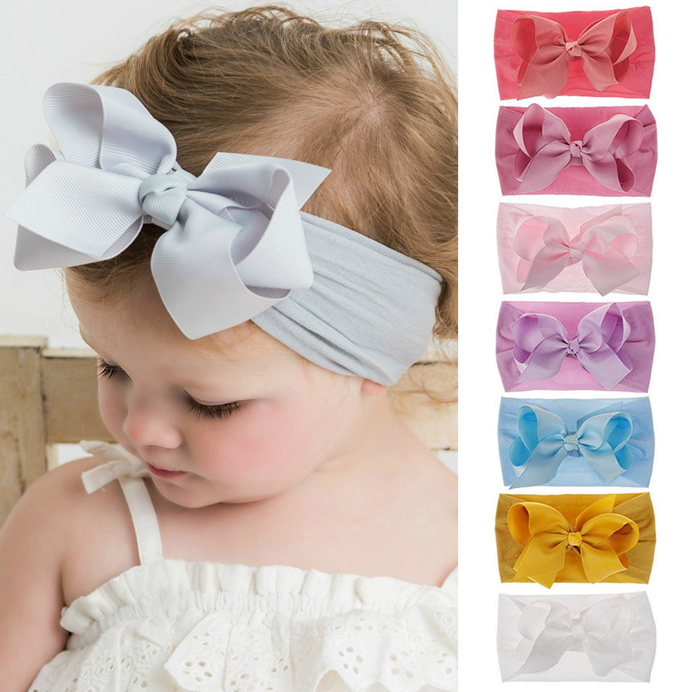 Baby Girls Large Bow Headband Toddler Kids Lace Flower Knot Hair Band Head Wrap