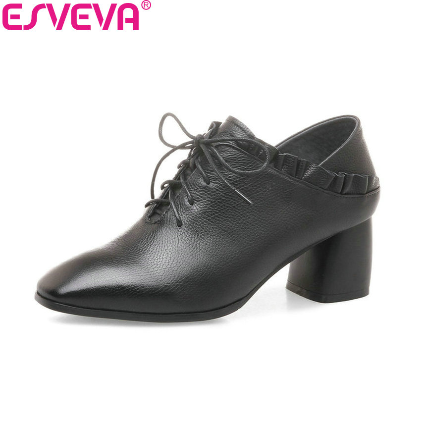 ESVEVA 2018 Women Pumps Shoes Cow Leather PU Square High Heel Lace Up Square Toe Elegant Lotus Leaf Side Ladies Shoes Size 34-42 esveva 2017 ankle strap high heel women pumps square heel pointed toe shoes woman wedding shoes genuine leather pumps size 34 39