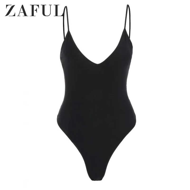 ZAFUL боди Летние сексуальные черные с v-образным вырезом без рукавов боди для женщин оснастки комбинезон с ластовицей боди раздельный женский купальник