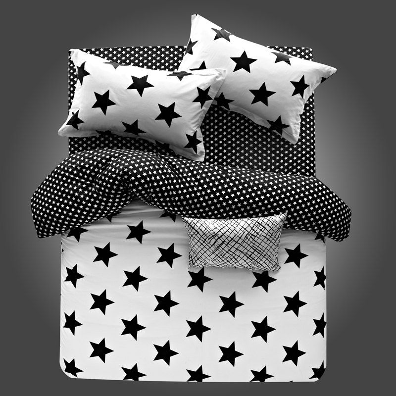100 Cotton Stripe Plaid Star Black And White Beding Set