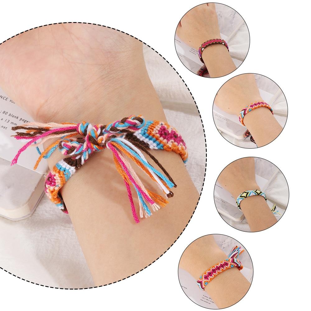 1 Pc Bohemian Handgemaakte Weave Gevlochten Armbanden Voor Vrouwen Boho Katoenen Touw Armband Etnische Charm Bangles Vintage Sieraden Bright Luster